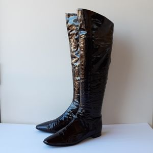 Sergio Rossi patent  leather over the  knee  boots
